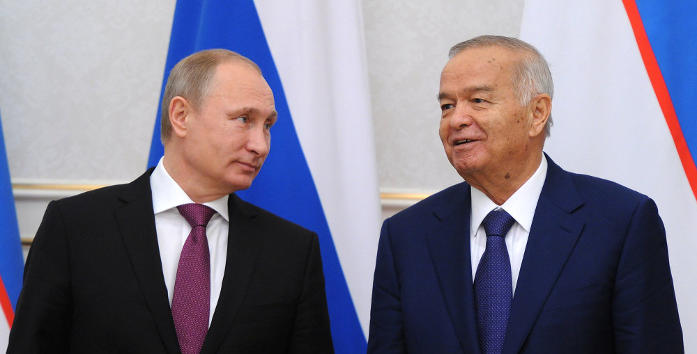 Russian President Vladimir Putin and President of the Republic of Uzbekistan Islam Karimov