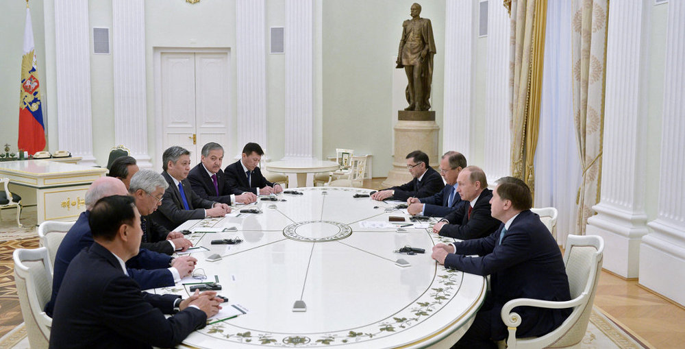 Vladimir Putin met at the Kremlin with participants in the Shanghai Cooperation Organisation's Council of Ministers of Foreign Affairs Meeting