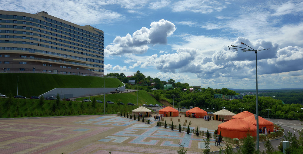 Vatan ethnic theme park outside the congress center in Ufa