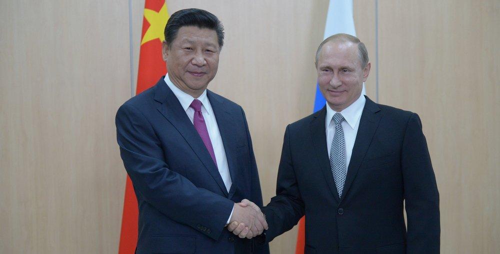 俄罗斯总统普京与中国国家主席习近平举行会晤