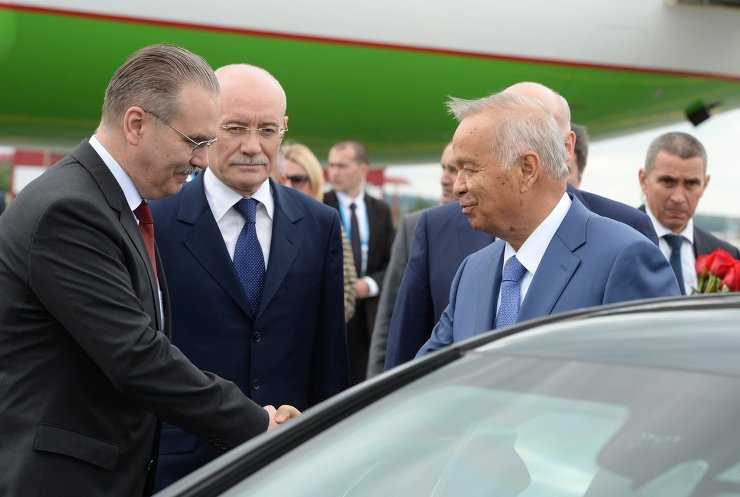 President of the Republic of Uzbekistan Islam Karimov arrives in Ufa